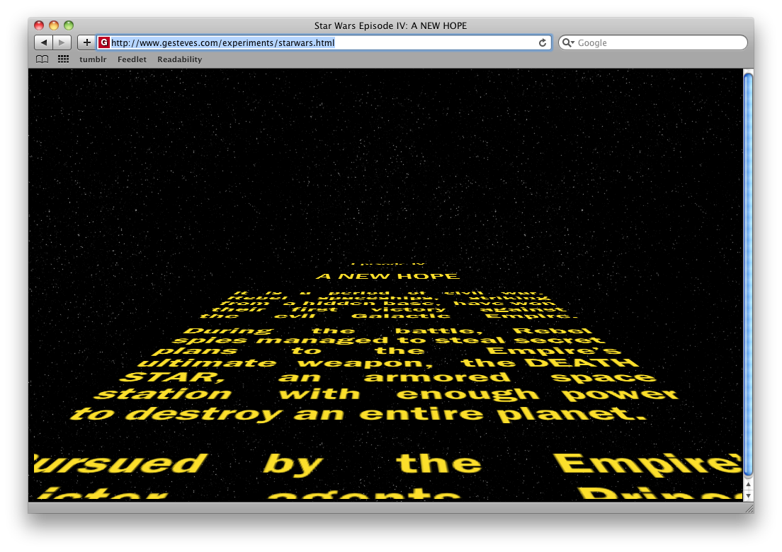 Star Wars HTML Screenshot